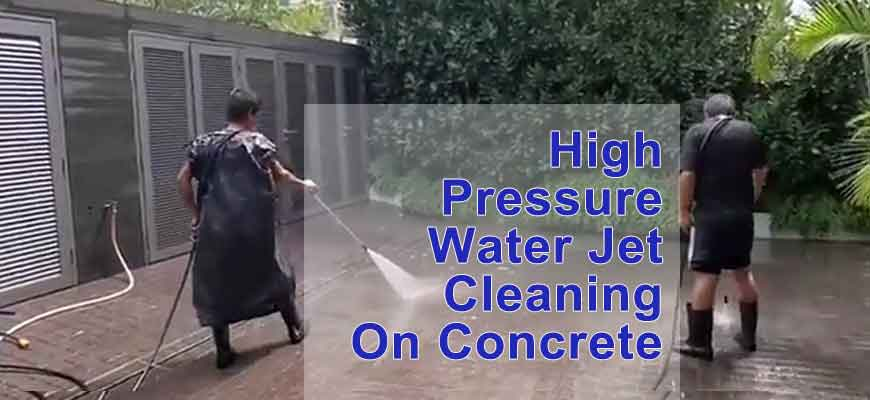 High Pressure Water Jet Cleaning On Concrete